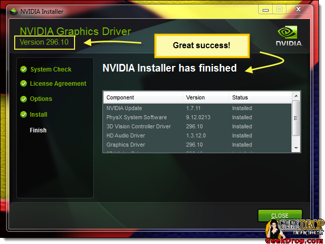 Nvidia Drivers installed successfully!